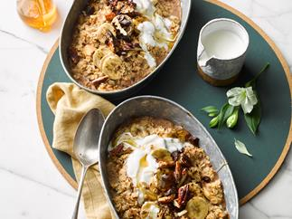 Baked banana and chocolate-chip porridge