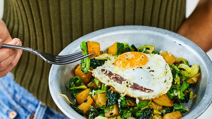 Winter greens with fried egg, anchovy and parmesan
