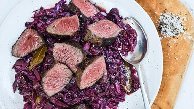 Venison with blackberry and wine-braised cabbage