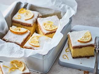 Custard slice with lemons on top