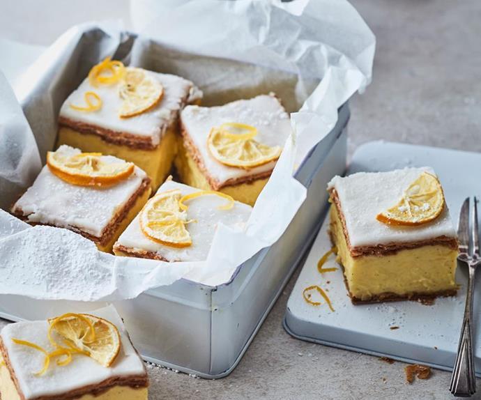 Custard slice with lemons on top