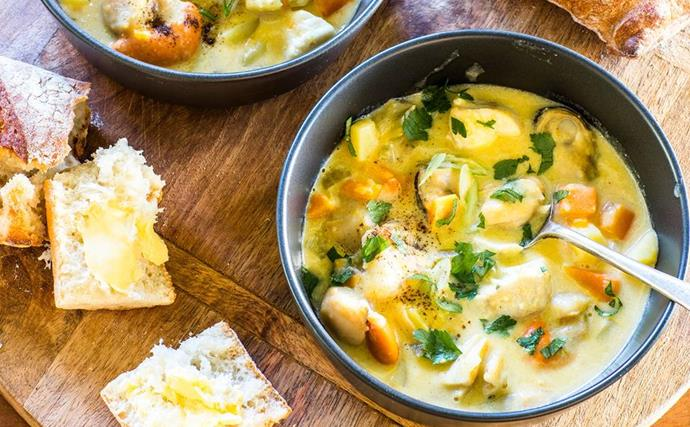 seafood chowder with bread and butter
