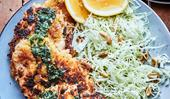 Chicken schnitzel with lemon parsley butter