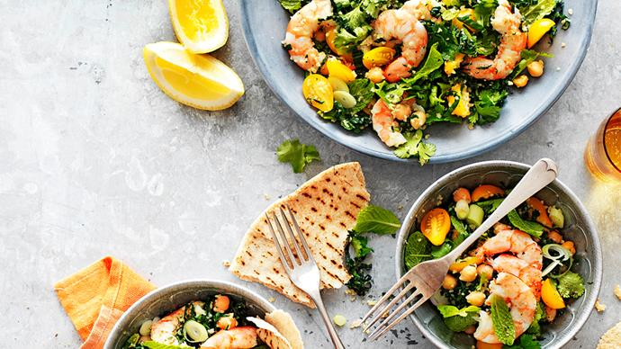 Prawn, kale and chickpea tabbouleh