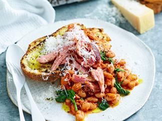 Honey mustard ham and baked beans