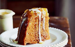 Caramel ginger steamed pudding with brandy custard