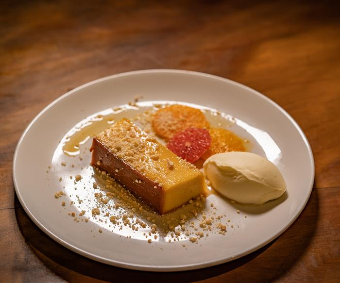 No7 Balmac's condensed milk flan with orange marmalade