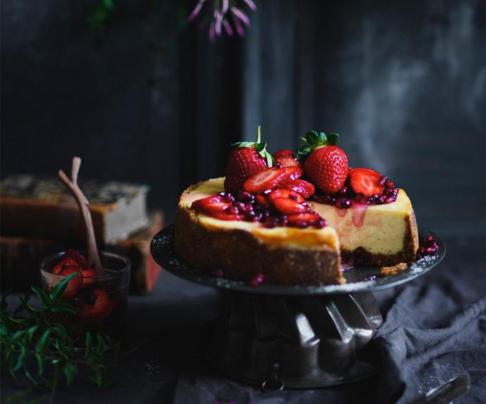 Labne cheesecake with ruby fruit salad
