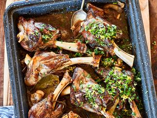 Sticky lamb shanks with Parmesan mash