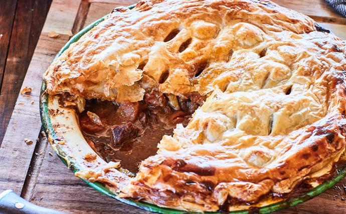 Beef, beer and blue cheese pie