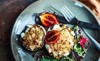 Roasted portobellos with goat's cheese, chilli garlic crumble & balsamic tamarillos