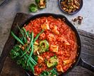 Tempeh & red lentil curry with roasted greens and tamari nuts & seeds