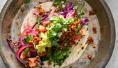 Nadia Lim's vegan tacos with walnut and almond chilli