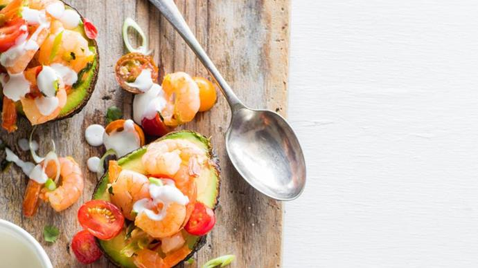 Avocado with chilli, prawns and lime mayonnaise