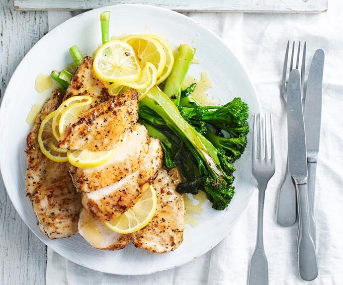 lemon chicken with broccolini