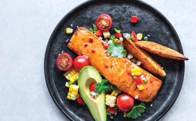 Smoked Chilli, Honey & Lime salmon with Paprika Wedges and Chunky Salsa