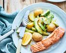 Warm potato and avocado salad with salmon