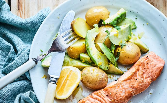 Warm potato and avocado salad