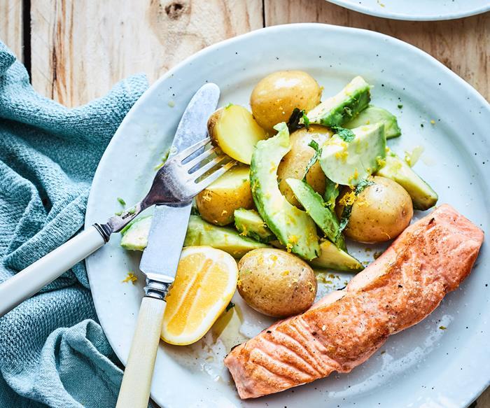 Warm potato and avocado salad
