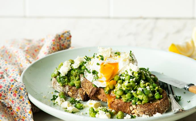 Crushed peas & poached eggs on sourdough toast
