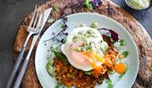 Quinoa & sweet potato fritters with garlicky matcha mayo, egg & salad