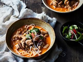 Thai coconut chicken curry with spicy porcini mushrooms