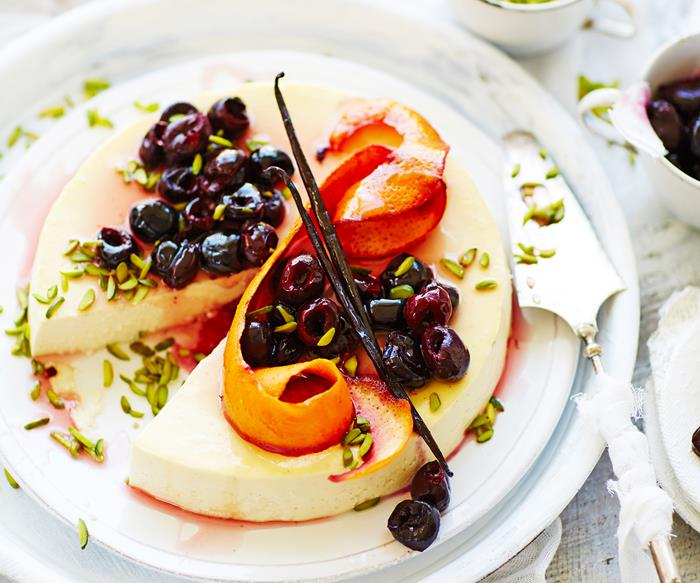 orange blossom baked ricotta with roasted cherries