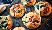 Savoury brioche buns with feta and blue cheese