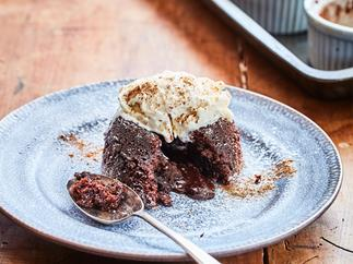 Gooey molten chocolate puddings