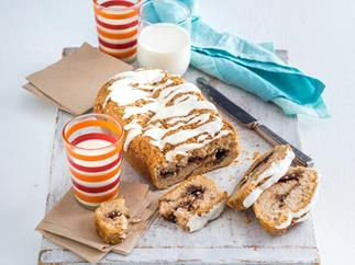 gluten-free cinnamon swirl loaf with milk