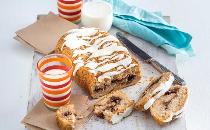 gluten-free cinnamon swirl loaf with milk