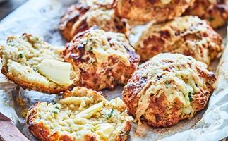 Double cheese and chive scones