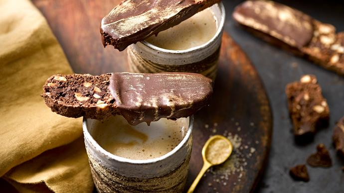 Dark chocolate, coffee & toasted hazelnut biscotti