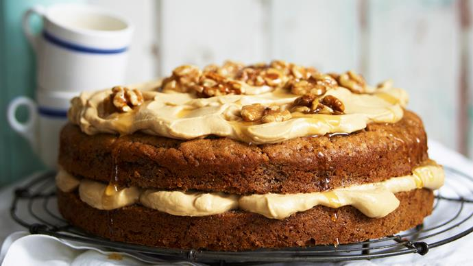 walnut cake with espresso mascarpone cream