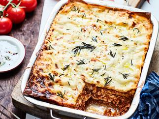 Meat lasagne with creamy ricotta and rosemary
