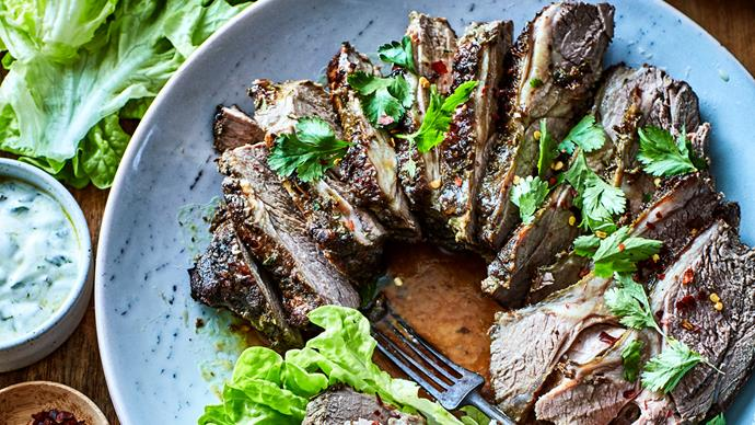 Slow-cooked butterfly lamb leg