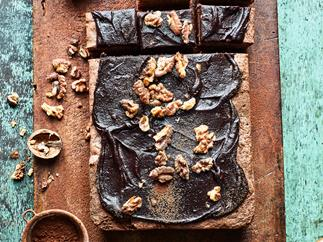 Chocolate, courgette and walnut brownie