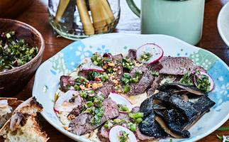 Venison with hummus and green salsa