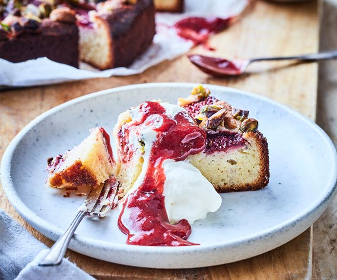Gluten-free strawberry, ricotta and pistachio cake