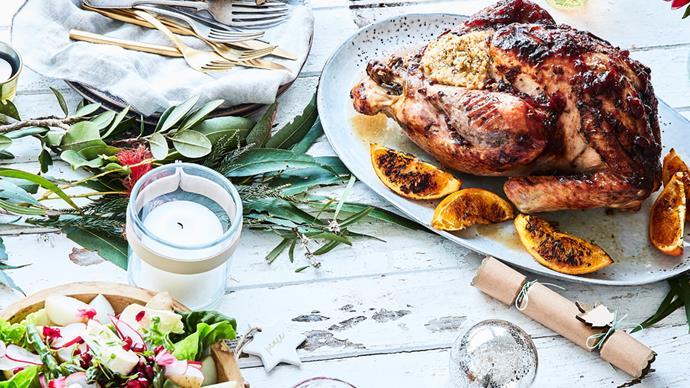 Christmas feast on table turkey salad