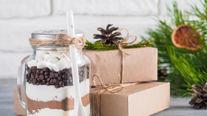 Eco-friendly gift wrapping hot chocolate in a jar