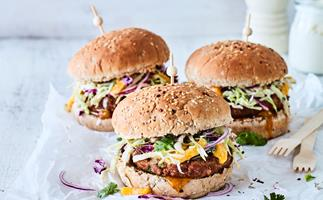 Spicy lemongrass pork burgers with mango slaw