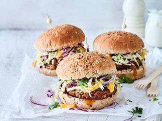 Spicy lemongrass pork burgers with mango slaw