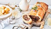 Vegetarian Wellington with mushroom and pecan stuffing