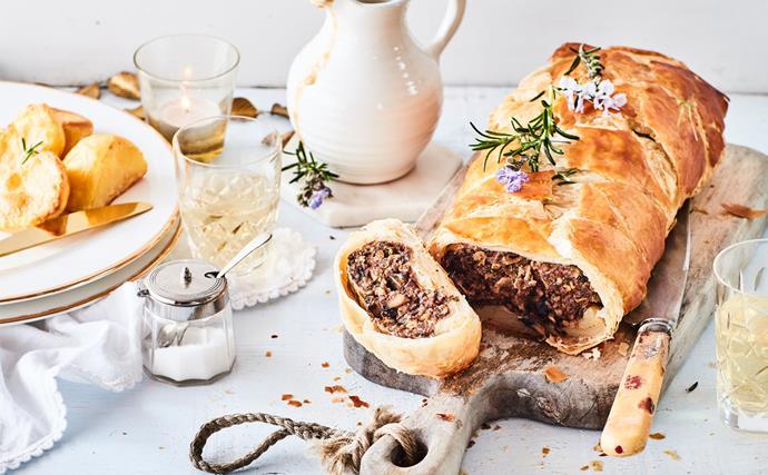 Vegetarian Wellington with mushroom and pecan