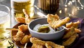 Cornmeal chicken sticks with jalapeno aioli