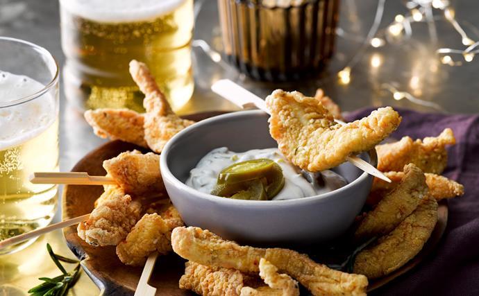Cornmeal chicken sticks with jalapeno aioli