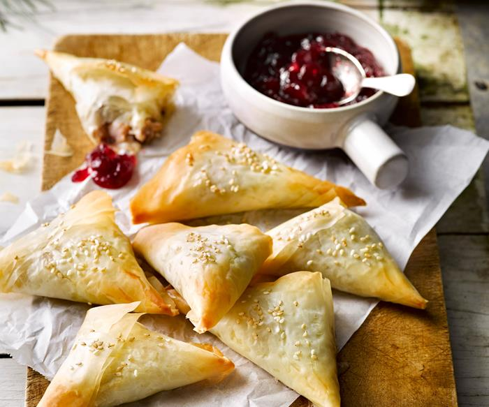 Chicken, cranberry and brie filo parcels