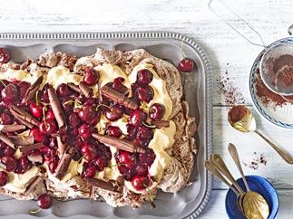 Cherry pavlova on tray
