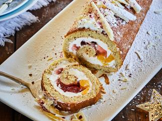 Peach trifle roll with raspberry jelly filling
